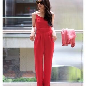 Red plunging wide leg jumpsuit